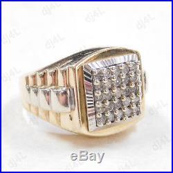 0.75 ct Round Diamond Vintage Wedding Men's Band 14k Two Tone Gold Over