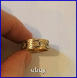 107 Year Old Vintage 14k Gold 32nd Degree Scottish Rite Masonic Mens Ring