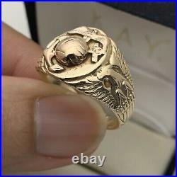 10K Gold United States Marine Corps Men's Ring Vintage USMC