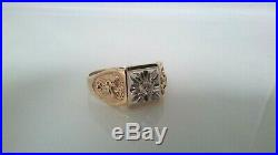 10K Solid Gold & Diamond 32nd Degree Vintage Men's Masonic Shriners Ring