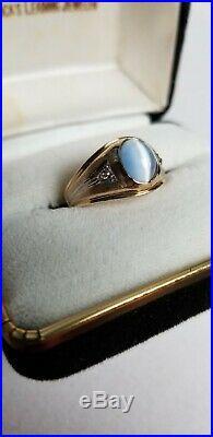 10K YELLOW GOLD MEN'S CATS EYE ring size 9.25 Vintage