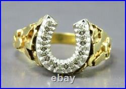 10K YELLOW GOLD Vintage DIAMOND HORSESHOE Horse Shoe NUGGET TRIM RING Mens 12.5
