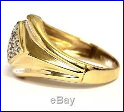 10K yellow gold. 37ct SI3-I1 H mens diamond cluster ring 6.9g estate vintage