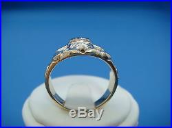 10k Gold Masonic Men's Vintage Ring With Small Champagne Color Diamond, 8.4 Grams