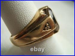 10k Gold Smoky Quartz Ring Mens Vintage