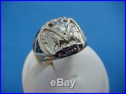 10k Gold Vintage Masonic Scottish Rite Men's Ring With Diamond, 9.7 Grams