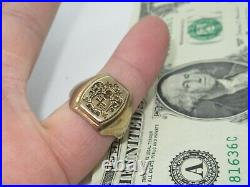 10k Men's Signet Ring Vintage Coat Of Arms True Wax Stamping Style 10.5 id294