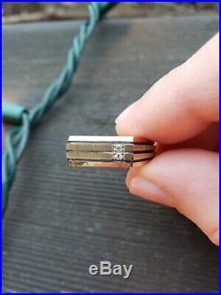 10k Solid Gold Genuine Two Diamond Mens Ring Pinstripe 9.5 Estate Vintage Unique
