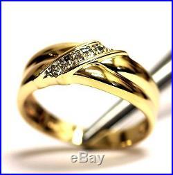 10k yellow gold. 06ct SI2 H mens diamond wedding band ring 4.6g estate vintage