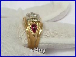 14K Diamond & Ruby Ring Ornate, Men's Cabochon & Round 8.3gr Vintage 10.5