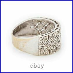 14K White Gold Over Vintage Art Deco Men's Wedding Openwork Band 2.2 CT Diamond