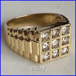 14K Yellow Gold 1.10ctw Diamond Watch Style Shoulders Vintage Heavy Mens Ring
