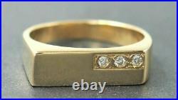14K Yellow Gold Over Mens Diamond Vintage Wedding Pinky Band Ring 1.00 ct