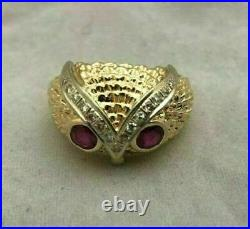 14K Yellow Gold Over Pinky Vintage Estate Band Owl Head Ruby Diamond Men's Ring