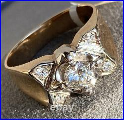 14K Yellow White Gold Diamond Vintage Mens or Womens Ring Size 10.25 Concave