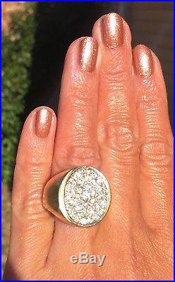 14K Yellow White Two-Tone Gold 0.70ctw Diamond Oval Vintage Heavy Mens Ring 11.5