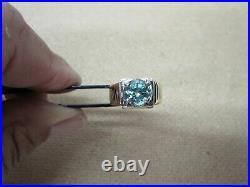 14 Kt Gold Vintage Men's Green Stone Ring 14 Grams Green Sapphire Not Scrap