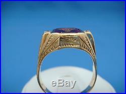 14k Gold Masonic Men's Vintage High Set Ring With Old Cut Diamonds 8.5 Grams