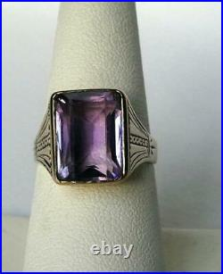 14k Gold Vintage Art Deco Amethyst Ring Mens Womens Inscribed Dated 1933 Sz 7