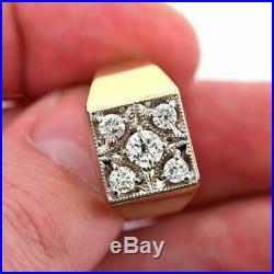 14k Real Yellow Gold Vintage Men's Wedding Engagement Ring Round 1.00 Ct Diamond