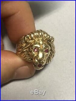 14k Solid Gold 1980 Vintage Men Lion Ring With Ruby