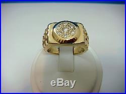 14k Yellow Gold Men's Vintage Ring 13.1 Grams, Size 10.75, 0.30 Ct T. W