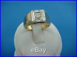 14k Yellow Gold Men`s Vintage Ring With Single 0.33 Carat Diamond 7.8 Grams