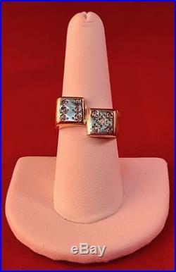 14k Yellow Gold Vintage DIAMOND DICE Men's Ring 12 Grams