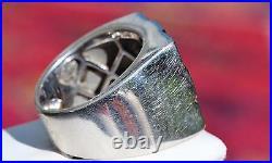 14k white gold men's ring 2.45ct diamond invisible set size 7 vintage 17.7g 5108