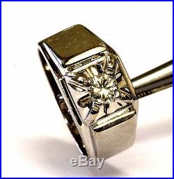 14k white gold mens. 40ct diamond SI3 I ring gents 7.7g vintage estate antique