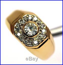 14k yellow gold. 76ct VS2-SI2 H-I mens diamond cluster ring 9.2g vintage estate