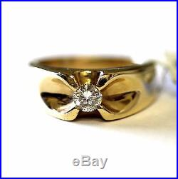 14k yellow gold gents. 30ct diamond SI2 H ring mens estate 8.7g vintage estate