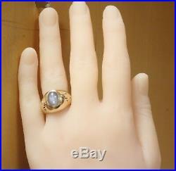 14k yellow gold mens blue star sapphire gemstone ring 7.4g gents vintage estate