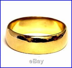 14k yellow gold mens wedding band ring 6.6mm vintage antique 6.2g estate