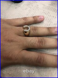 14kt Yellow Gold Diamond Horseshoe Mens Ring. 20ct