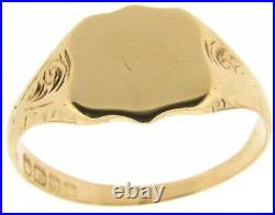 18Carat yellow gold shield signet ring size V1/2 ladies mans vintage year 1853