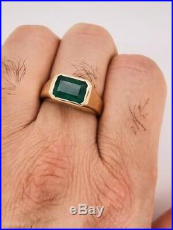18K Solid Yellow Gold 3.42 Ct Natural Emerald Mens Solitaire Ring 10.3 Grams