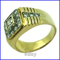 18K Solid Yellow Gold Real Diamonds Estate Vintage Style Mens Ring
