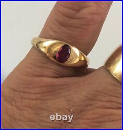 18K c1900-1924 Birmingham Natural Ruby Ring Natural Ruby For Man Or Woman