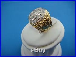 18k Gold Vintage Heavy 18.7 Grams 0.65 Ct Starburst Men's Diamond Ring, Size 7