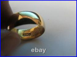 18k Men's Wedding Ring Cigar Band Size 9 Yellow Gold 9mm Wide 10.69g Weighty Vtg