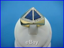 18k Yellow Gold Men's Blue Lapis And Diamonds Vintage Men's Ring, 13.2 Grams