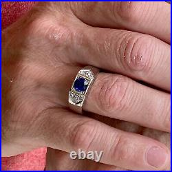 1940's Sapphire Diamond Platinum Men's Gent's Vintage Band Ring