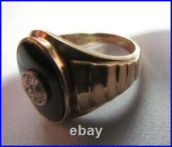 1950s Vintage Mens Statement Ring Diamond & Onyx 10k Gold Davidson & Sons sz 9.5