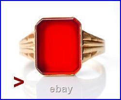 1954 Antique Retro Men Signet Ring Carnelian solid 18K Gold US 10.5 /5.3 gr