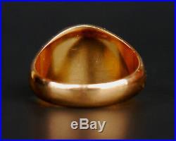 1955 Vintage Retro Unisex Men Ring solid 18K Gold Chrysoprase Ø US 6.75 / 5.6gr