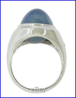 1970s Vintage Estate Mens Palladium Diamond Cabochon Star Sapphire Ring 21.7g
