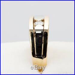 1980s Mans Antique Vintage 14k Two Tone Gold Diamond Band 0.18ctw H/Si1- Size 10