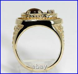 1.15CT vintage mens diamond tigers eye nugget ring 14K yellow gold sz 8.5 12.4GM
