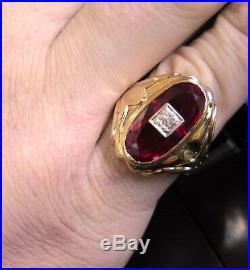 1/4 ct Old European Cut Diamond & LC Red Ruby VTG Mens 10K Gold Sz 10 Ring 9.5g